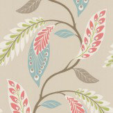 Nina Campbell Fontibre Aqua / Coral Red Wallpaper - Product code: NCW4207/02