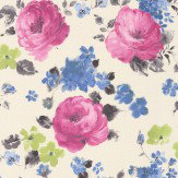 Albany Rose Floral Pink / Blue Wallpaper