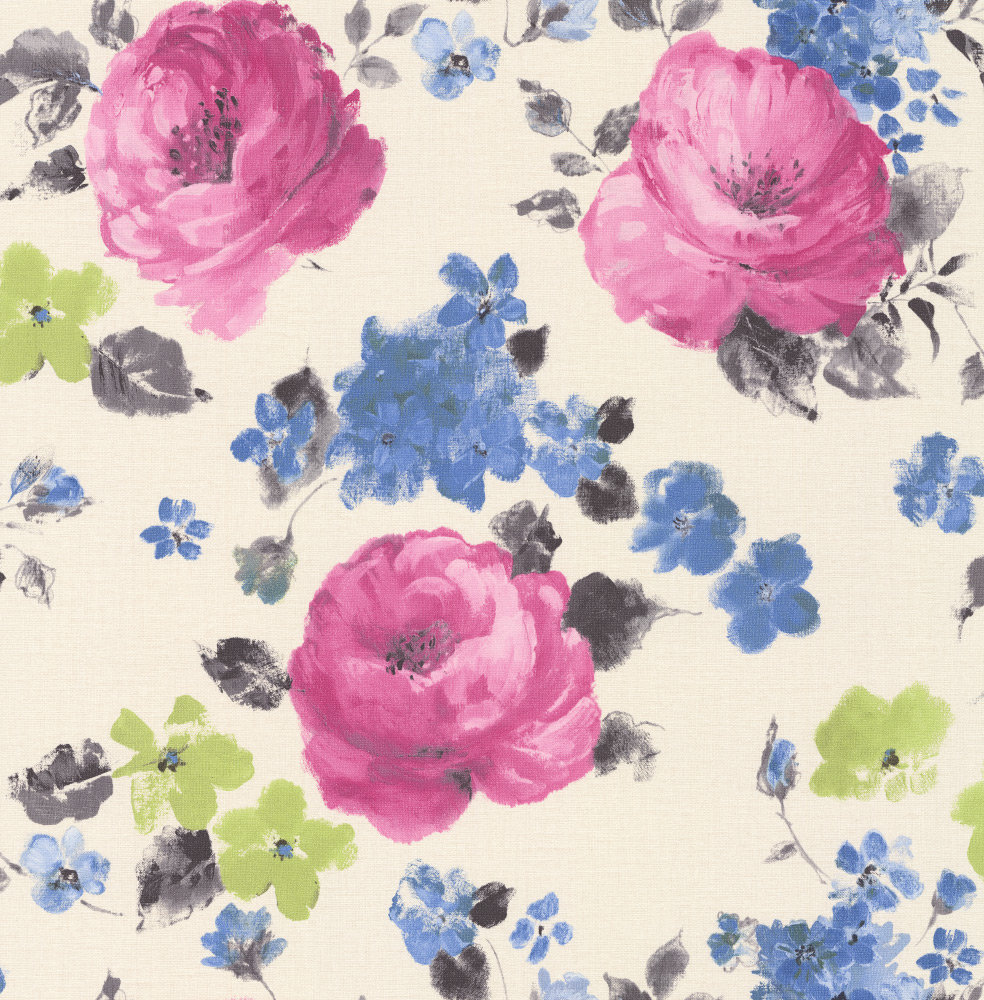 Albany Rose Floral Pink / Blue Wallpaper main image