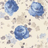 Albany Rose Floral Blue Wallpaper
