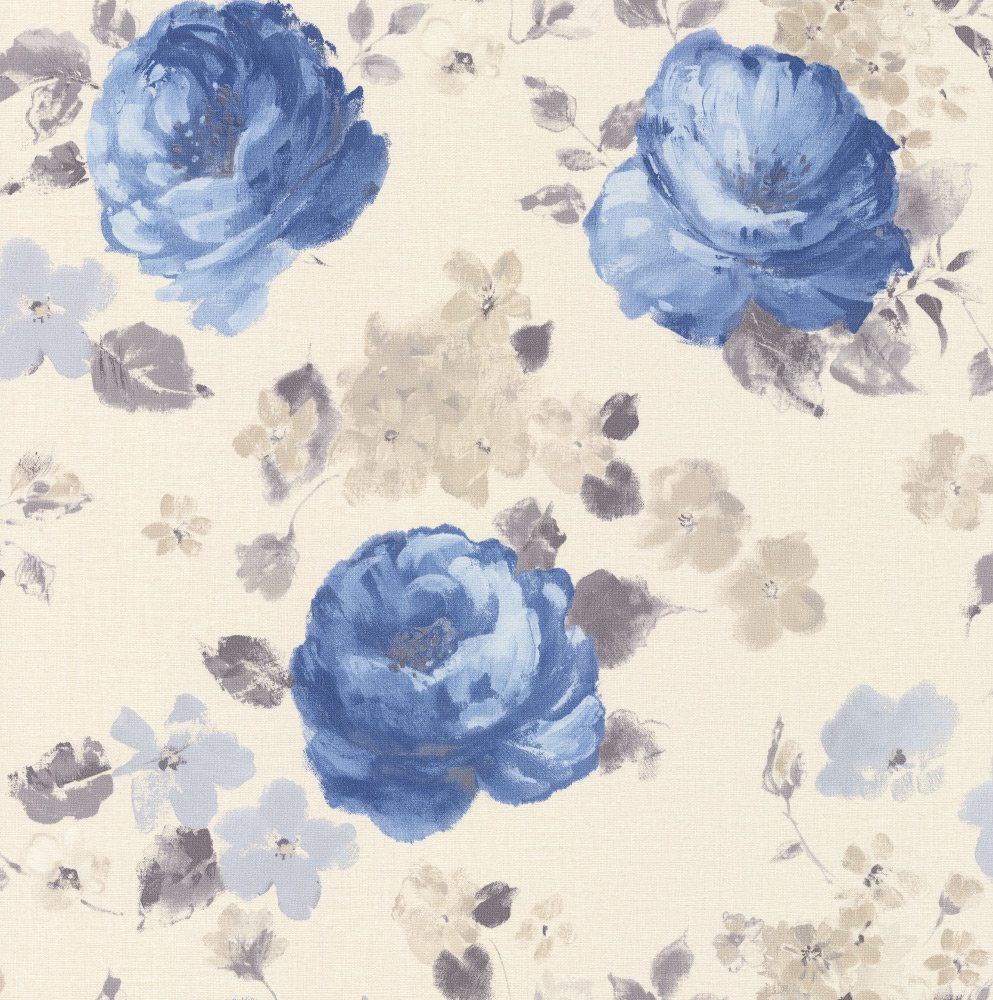 Albany Rose Floral Blue Wallpaper main image