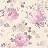 Albany Rose Floral Pink / Clover Wallpaper