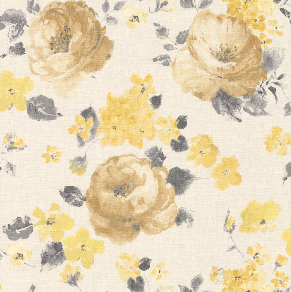 Rose Floral by Albany - Gold / Lemon : Wallpaper Direct