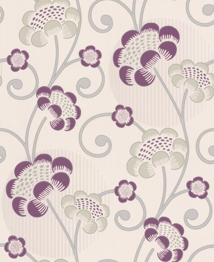 Albany Contemporary Floral Damson Wallpaper - Product code: 30054-3