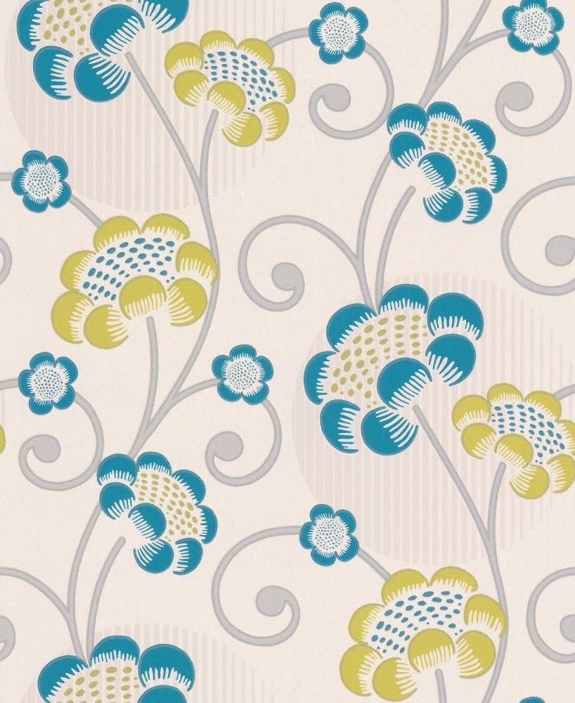 Albany Contemporary Floral Teal Wallpaper - Product code: 30054-5
