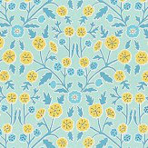 Sanderson Candytuft Teal / Cadmium Fabric
