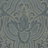 Colefax and Fowler Fretwork Navy Wallpaper