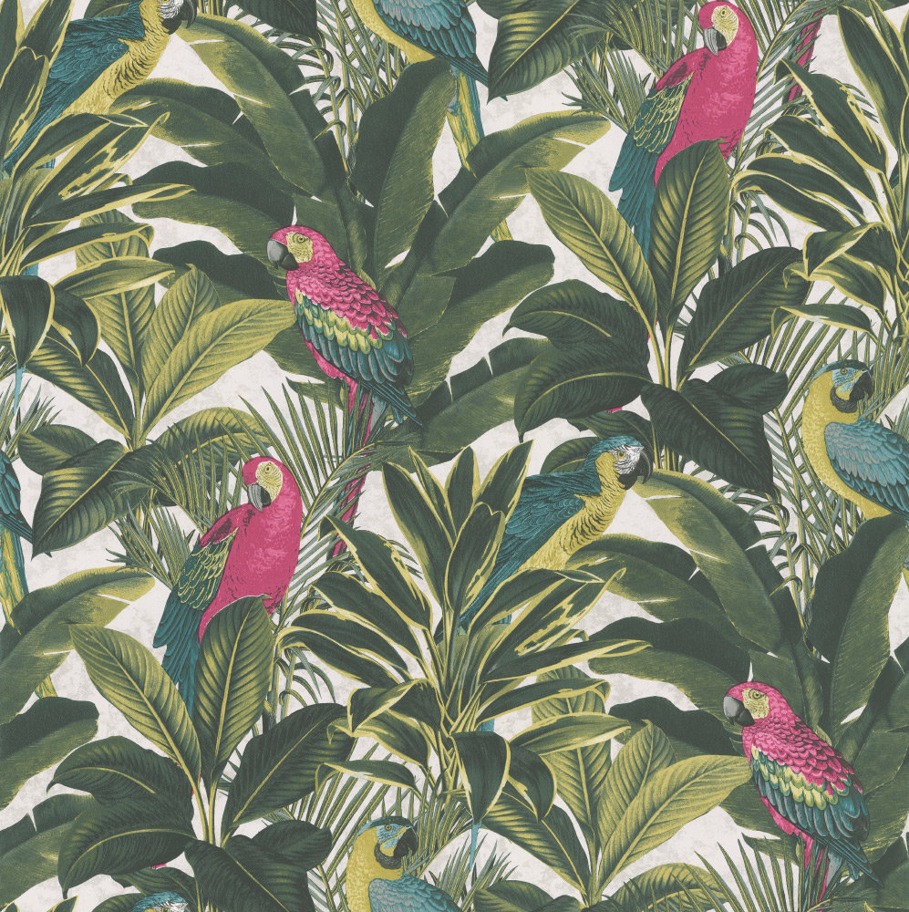 Albany Parrots & Palms Pink, Green & White Wallpaper main image