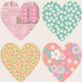 Arthouse Patchwork Heart Pastel Wallpaper