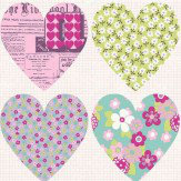 Arthouse Patchwork Heart Purple Wallpaper