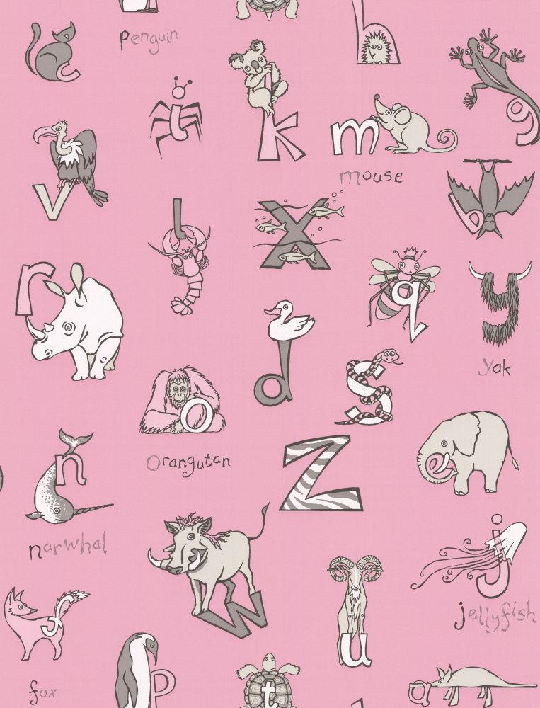 Kerry Caffyn Animal Alphabet Pink Wallpaper - Product code: KC2012