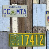 Galerie Distressed Car Plates Multi Wallpaper