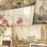 Galerie City Postcards Sepia Wallpaper