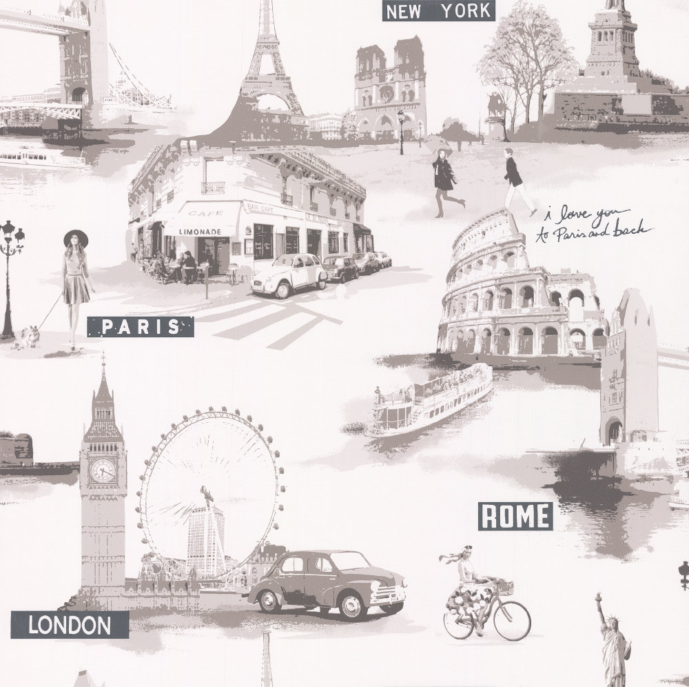 Galerie City Scenes White, Taupe & Grey Wallpaper - Product code: S45210