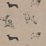 Clarke & Clarke Pooches Noir Fabric - Product code: F0773/01