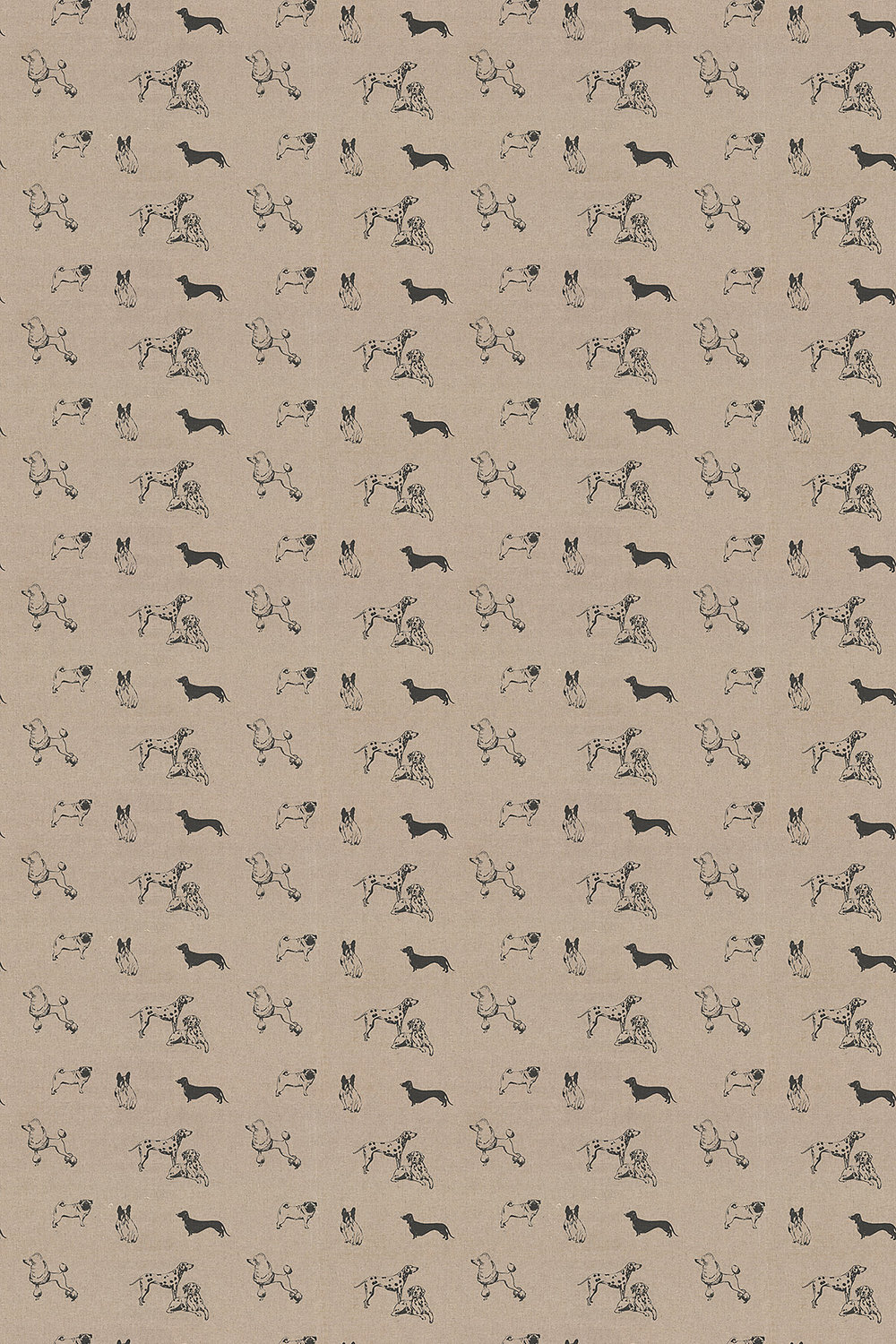 Clarke & Clarke Pooches Noir Fabric main image