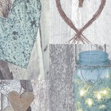 Arthouse Rustic Heart Natural Wallpaper