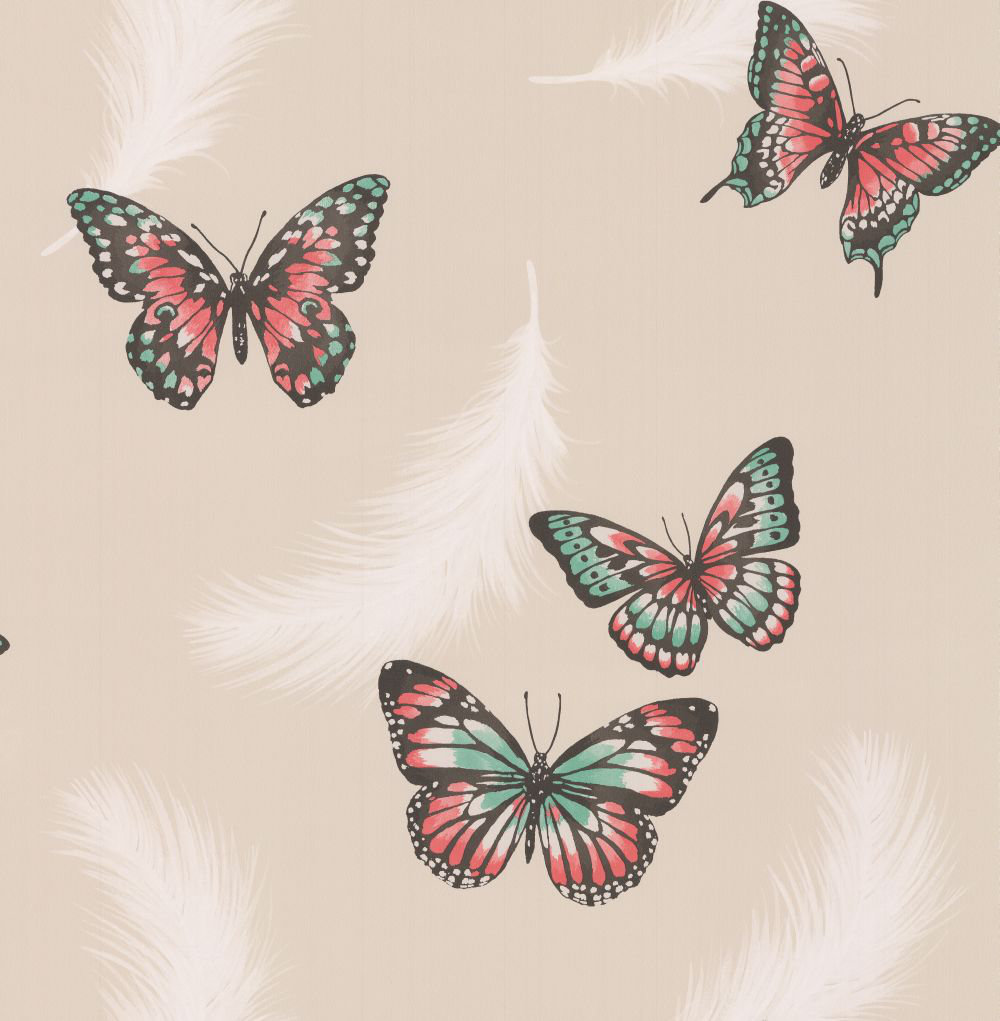 Albany Butterflies Beige & Red Wallpaper - Product code: 40918