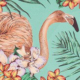 Matthew Williamson Flamingo Club Jade, Peach, Coral & Leaf Fabric - Product code: F6790/01