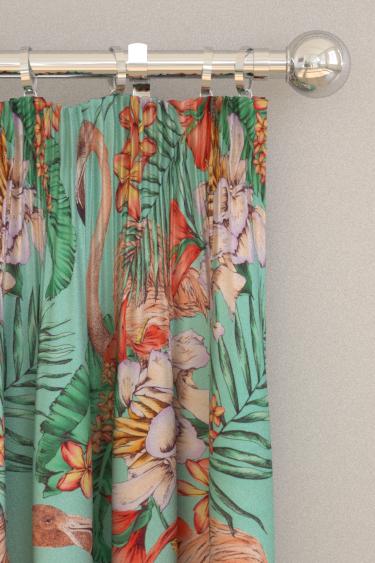 Matthew Williamson Flamingo Club Jade, Peach, Coral & Leaf Curtains - Product code: F6790/01