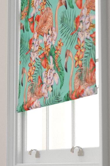 Matthew Williamson Flamingo Club Jade, Peach, Coral & Leaf Blind - Product code: F6790/01