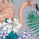 Matthew Williamson Flamingo Club Lavender, Ivory, Pale Electric Blue & Teal Fabric - Product code: F6790/05