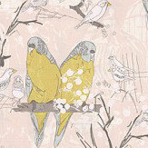 Belynda Sharples Linen Union Budgie 01 Lime / Blue Fabric - Product code: BUDGIE 01