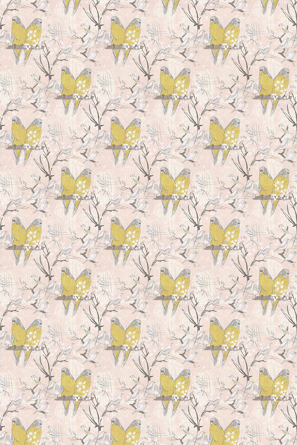 Image of Belynda Sharples Fabric Linen Union Budgie 01, BUDGIE 01