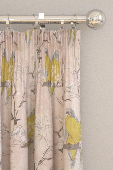 Belynda Sharples Linen Union Budgie 01 Lime / Blue Curtains - Product code: BUDGIE 01