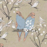 Belynda Sharples Linen Union Budgie 02 Salmon /Turquoise Fabric - Product code: BUDGIE 02