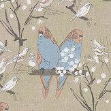 Belynda Sharples Linen Union Budgie 02 Salmon /Turquoise Fabric