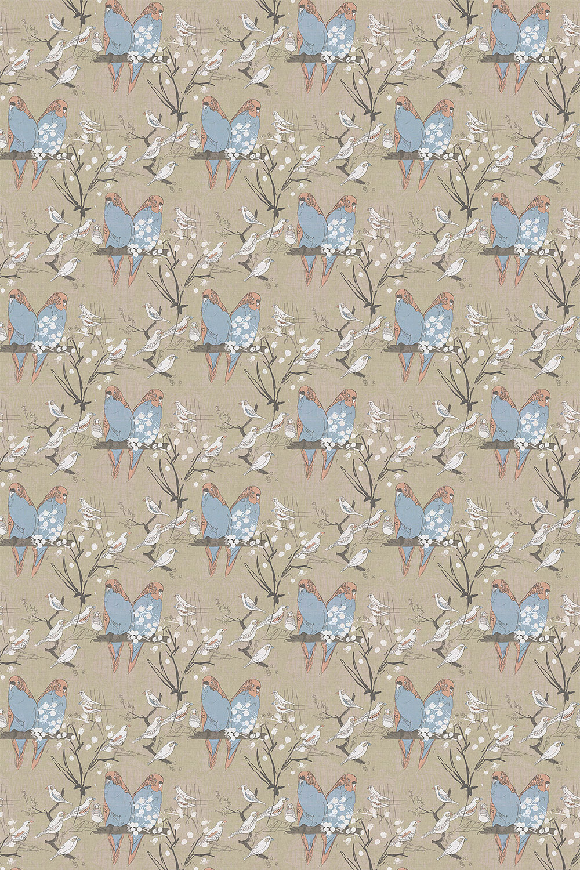 Belynda Sharples Linen Union Budgie 02 Salmon /Turquoise Fabric - Product code: BUDGIE 02