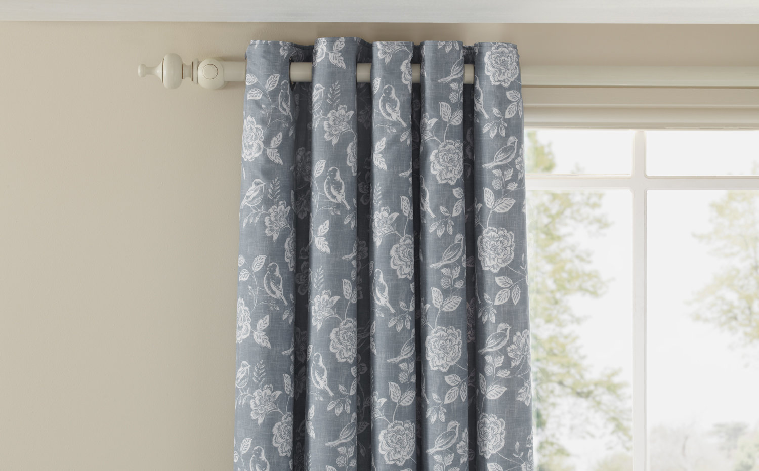 iliv Henley Bird Garden Eyelet Lined Curtains Denim Ready Made Curtains - Product code: 682350