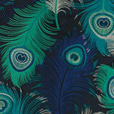 Matthew Williamson Plumas Peacock, Ink, Mint and Navy Fabric - Product code: F6792/01