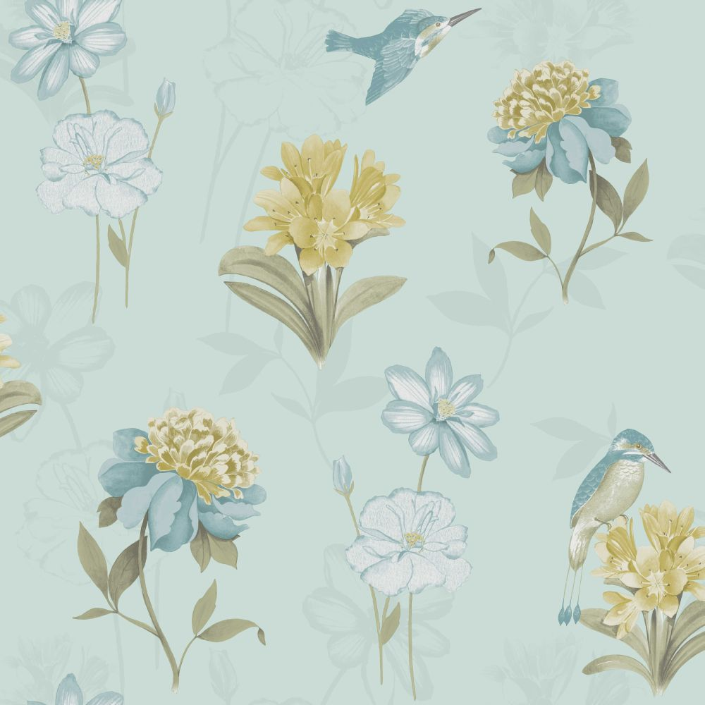 Holden Decor Kingfisher Soft Teal Wallpaper - Product code: 11561