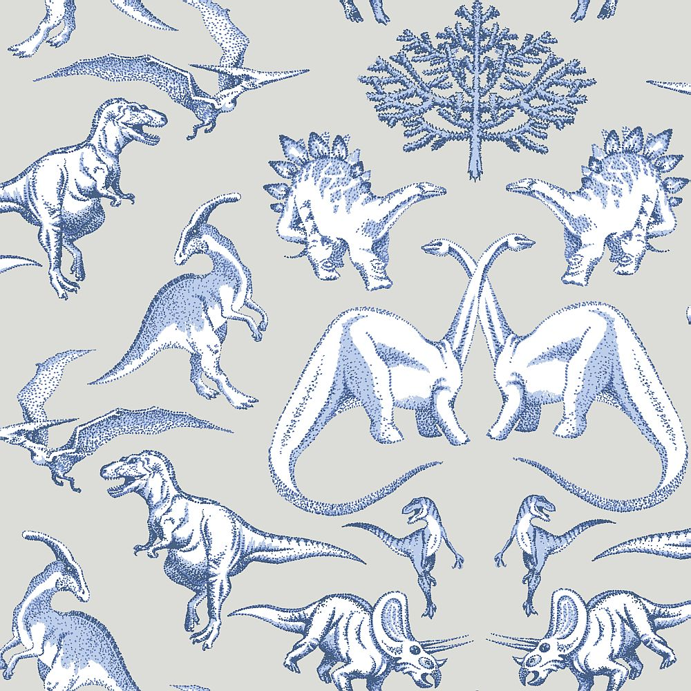 Albany Dotty Dinosaurs Blue and Stone Wallpaper - Product code: KC2009