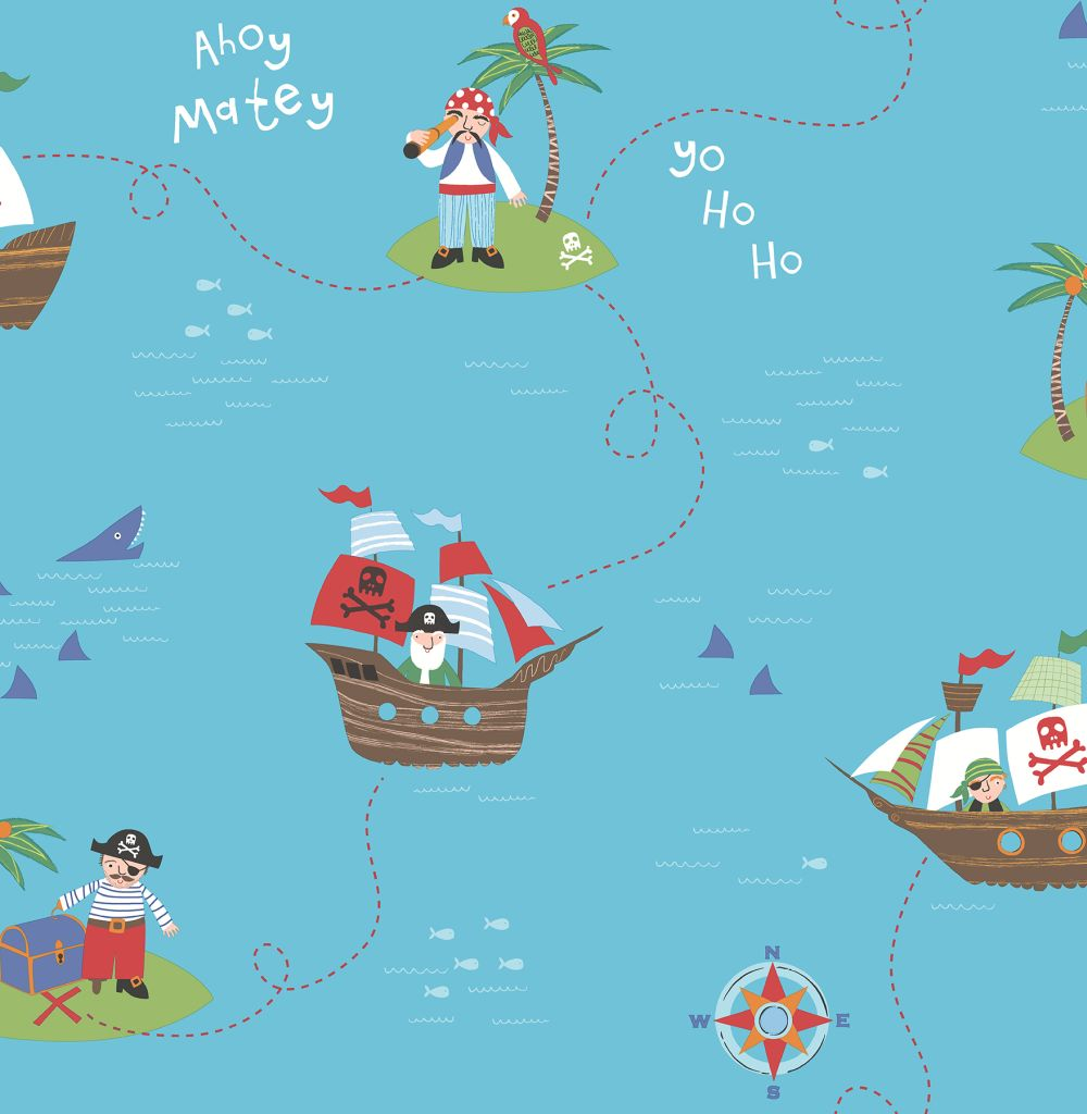 Albany Funny Pirates Teal Wallpaper - Product code: SZ002103
