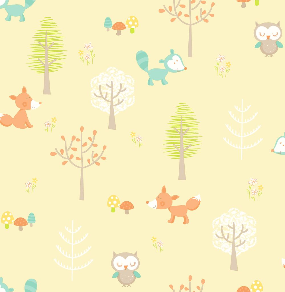 Albany Forest Friends Pale Yellow Wallpaper Main Image