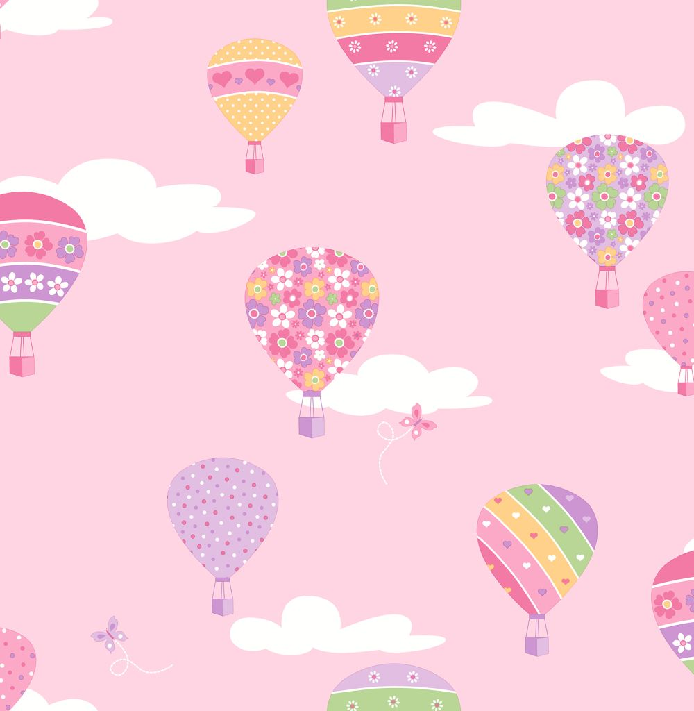 Albany Hot Air Balloons Pink Wallpaper Main Image