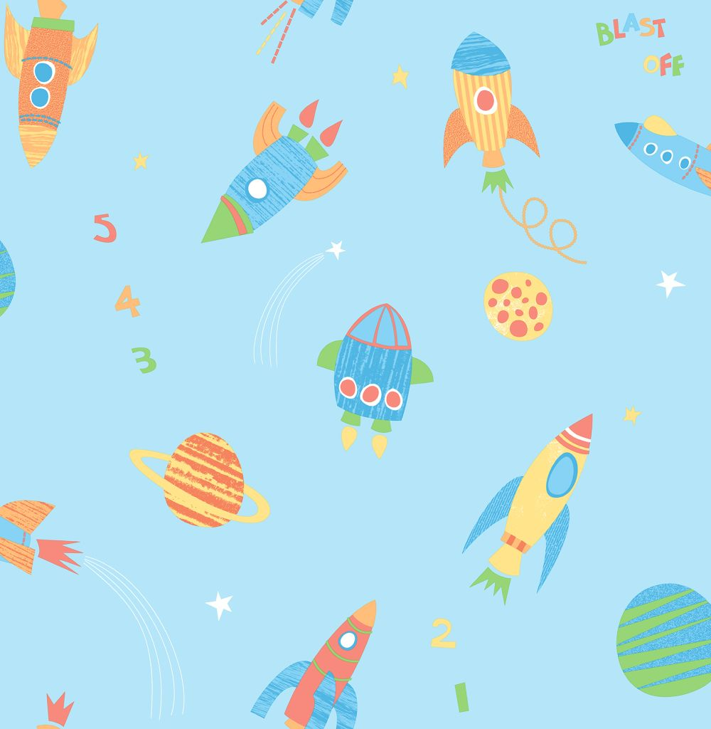 Albany wallpapers blast off x for Outer space fabric uk