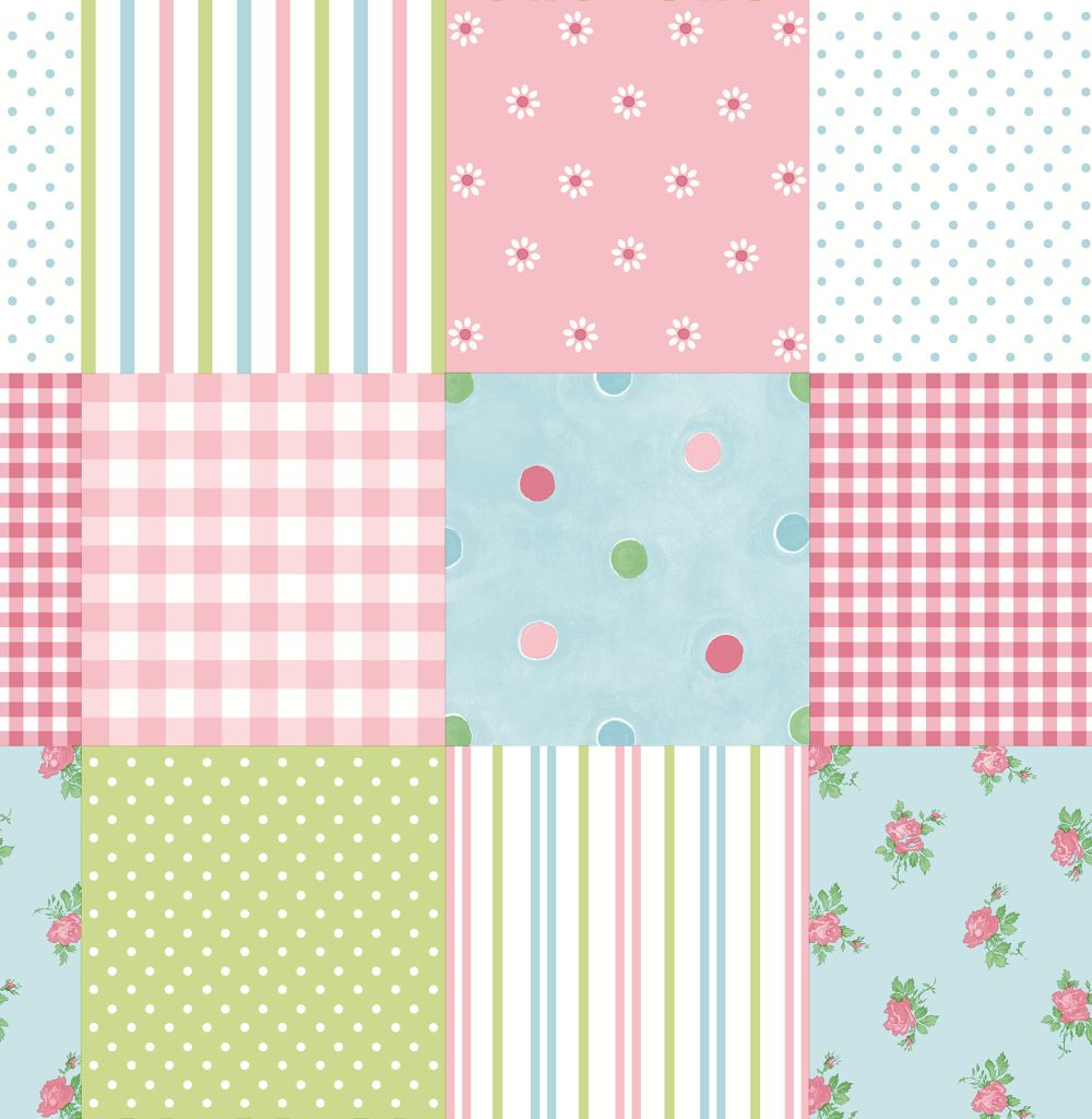Albany Patchwork Pink Wallpaper main image