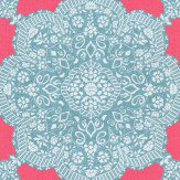 Thibaut Medallion Paisley Pink / Turquoise Wallpaper