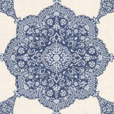 Thibaut Medallion Paisley Navy Wallpaper