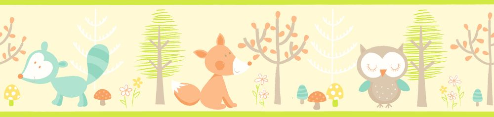 Albany Forest Friends Border Pale Yellow - Product code: FDB50116