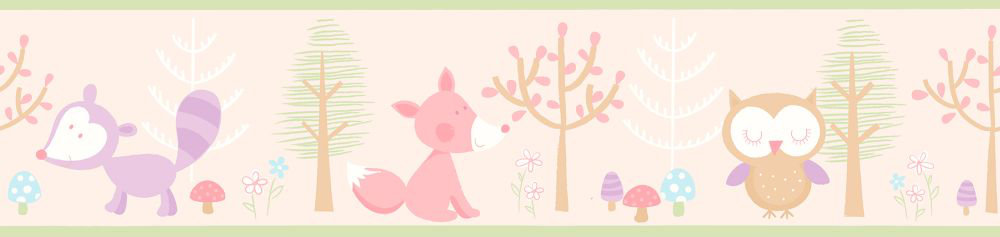 Albany Forest Friends Border Pink - Product code: FDB50118