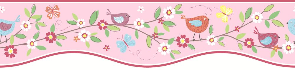 Albany Birds House Border Pink - Product code: FDB50131