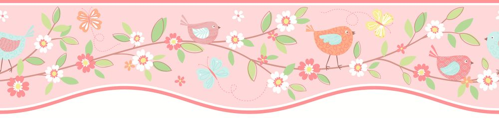 Albany Birds House Border Pale Pink - Product code: FDB50132
