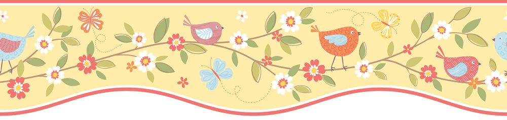Albany Birds House Border Pale Yellow - Product code: FDB50133