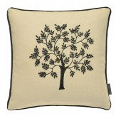 Morris Seaweed Embroidered Cushion Black