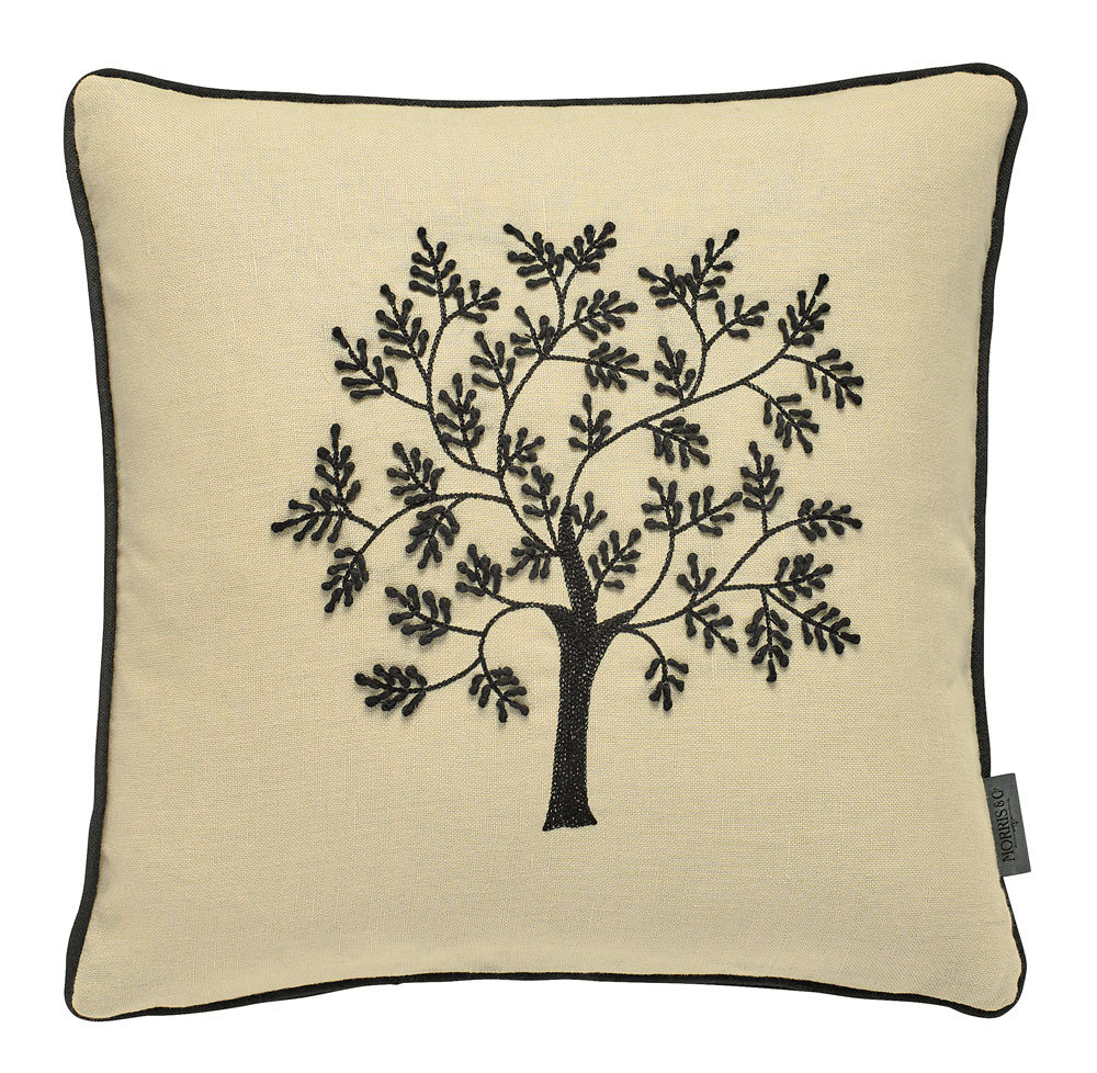 Morris Seaweed Embroidered Cushion Black main image